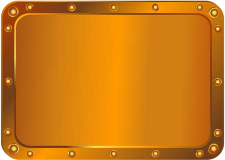 Metal  platinum with the rounded corners with round metal rivets Vector