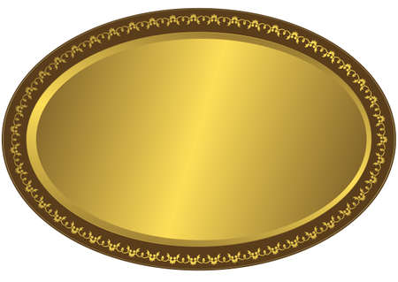 Oval metal volumetric plate with vintage an ornament on edges Vector