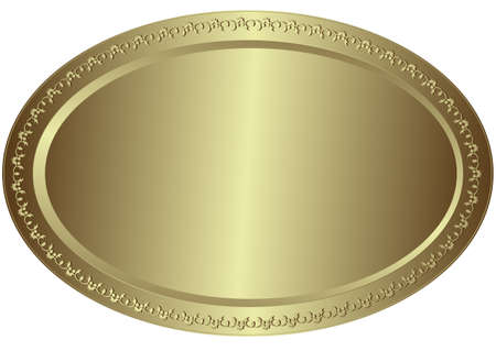 Oval metal volumetric plate with vintage an ornament on edges Stock Vector - 4432236