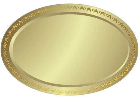 Oval silvery volumetric plate (vector) Vector
