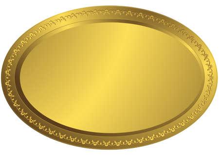 Oval golden volumetric plate (vector) Illustration