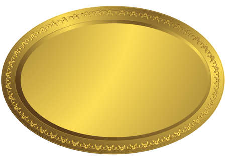 Oval golden volumetric plate (vector) Vector