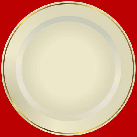 Old-fashioned white plate with a gold ornament (vector) Illustration