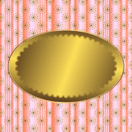Pink striped floral  background with golden banner Vector