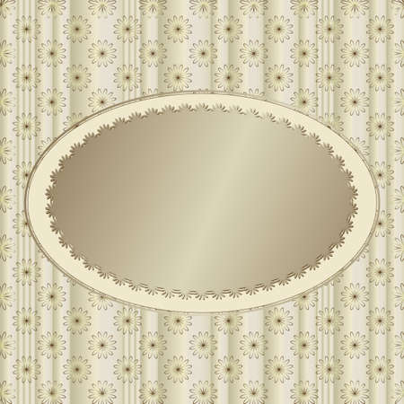 Silvery striped floral  background with silvery banner Vector