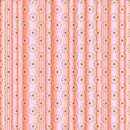 Pink striped floral  background with silvery flowers Vector