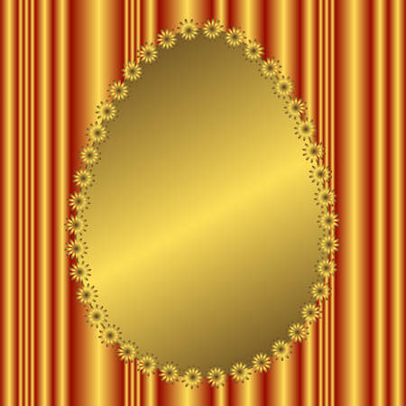 Golden striped floral  background with golden flowers Vector