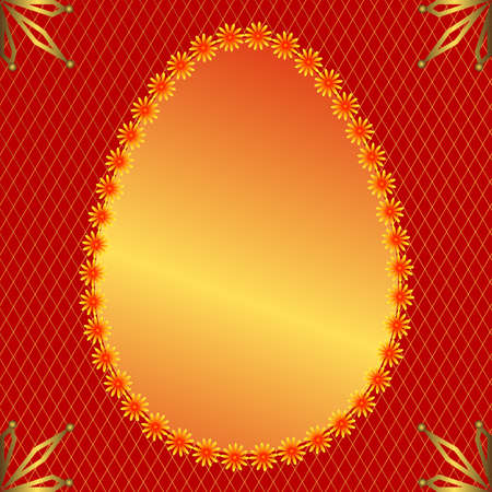 Golden banner in the form of an easter egg on a red background Vector
