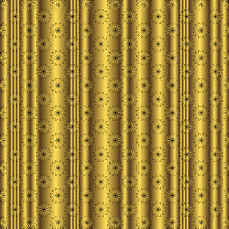 Golden striped floral  background Stock Vector - 4452610