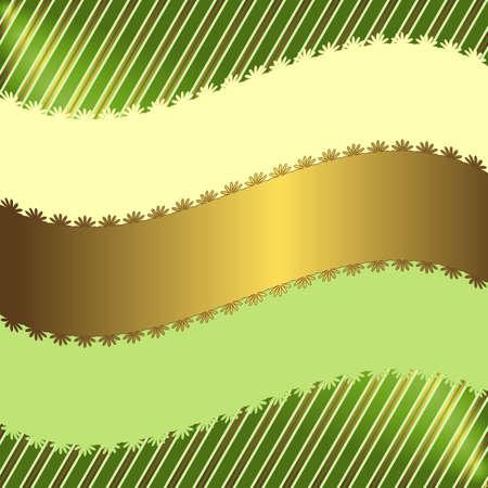 flourishing: Green striped floral  background  Illustration