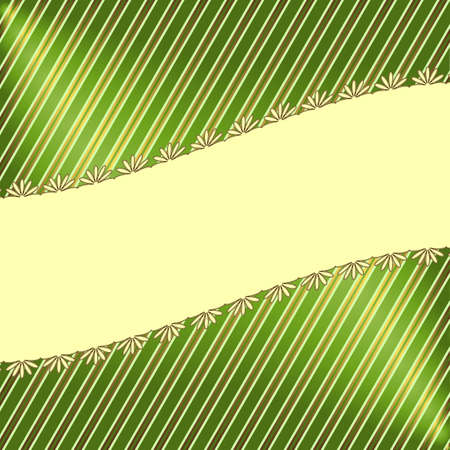 Green striped floral  background  Vector