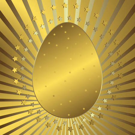 Golden background with easter egg, silvery beams and stars Vector