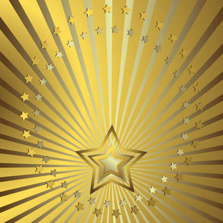shone: Golden background with silvery beams and stars Illustration