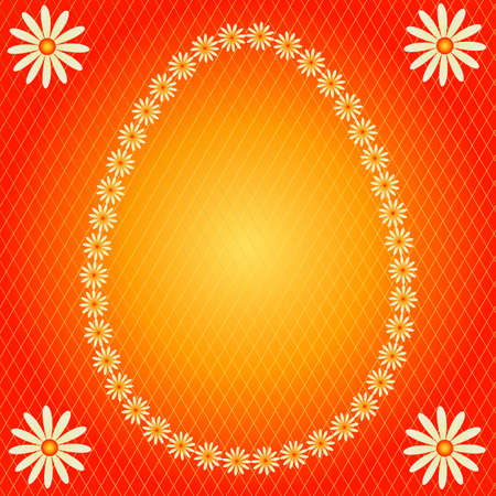 Yellow  banner in the form of an easter egg on a red background Vector