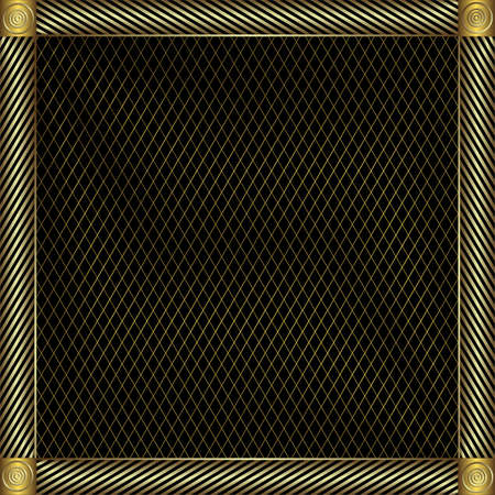 Trellised silvery and golden  frame (vector) Illustration