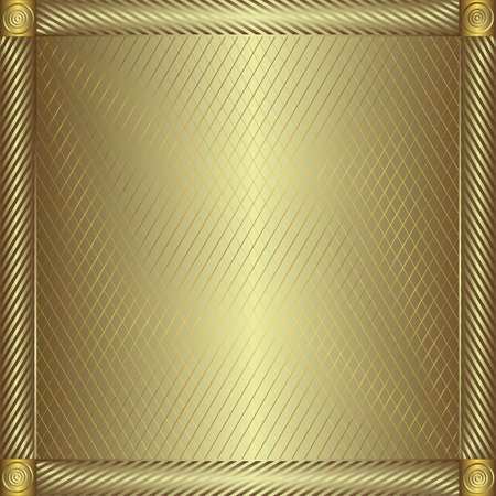 metallic border: Trellised silvery and golden  frame (vector) Illustration