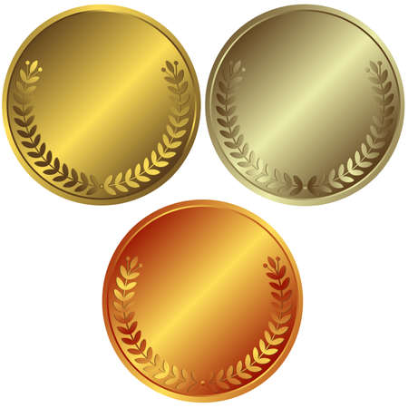 Gold, silver and bronze medals Vector