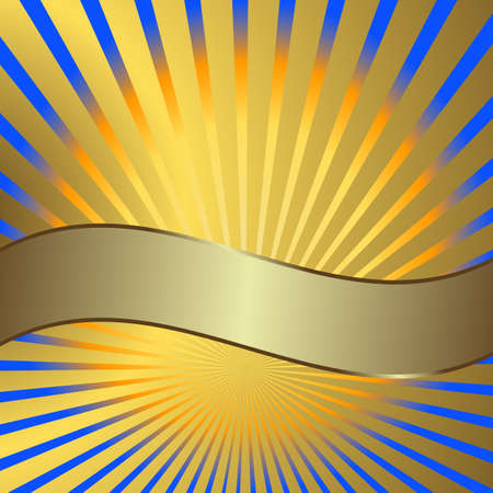 Solar background with golden beams and a silvery banner Vector