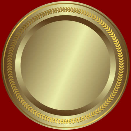Silvery plate with golden vintage an ornament on edges Vector
