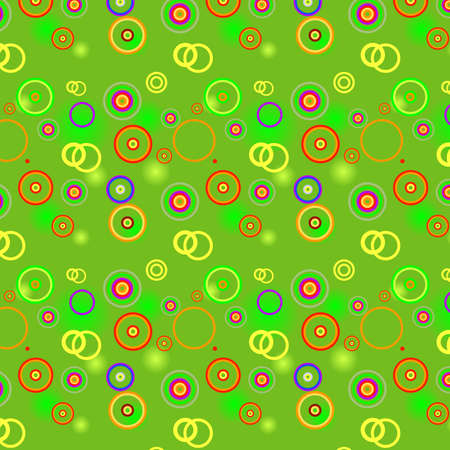 lilas: Bright green background with color spots, circles and rings