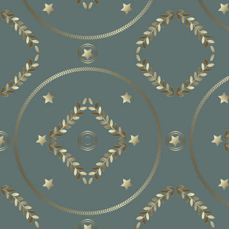 Seamless geometrical pattern with silvery rings, stars and leaves Vector