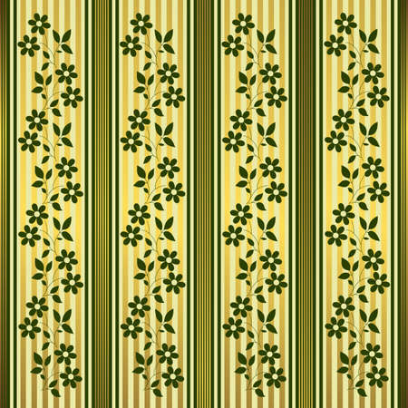 Green and golden floral stripes background Vector
