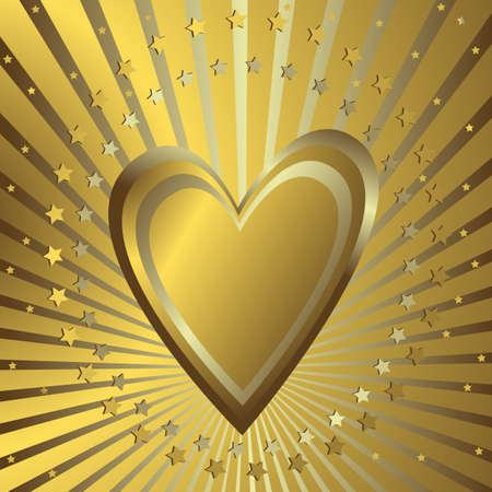silvery: Golden background with heart, silvery beams and stars (vector) Illustration