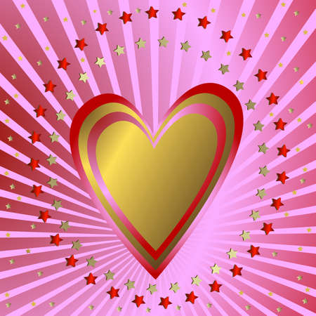 shone: Pink  background with heart, silvery beams and stars (vector) Illustration