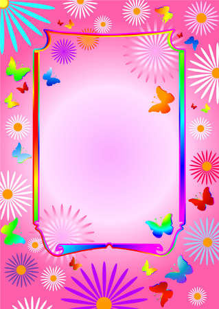 Pink  floral background with butterflies and flowers Vector