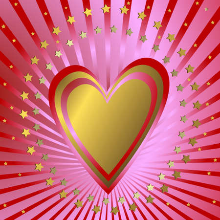 Pink  background with heart, red beams and stars (vector) Vector