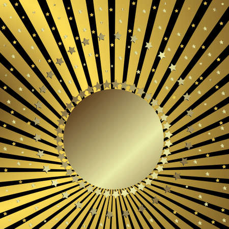 Black background with golden beams and stars (vector) Vector