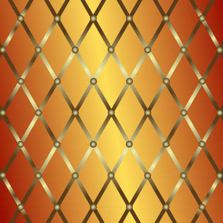 Bronze metal geometric background with silvery lattice (vector) Vector