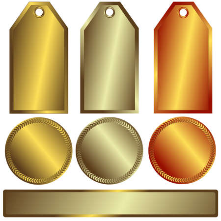Gold, silver and bronze banners on white background Illustration