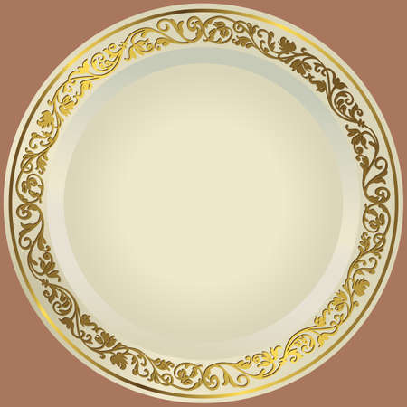 porcelain plate: Old-fashioned white plate with a gold vintage ornament