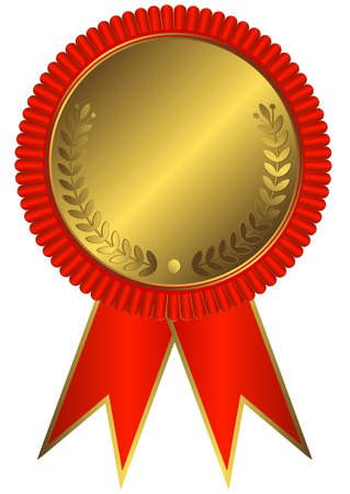 Gold medals with red ribbon on white background  Vector