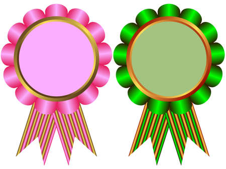 Pink and green  banners on white background Vector