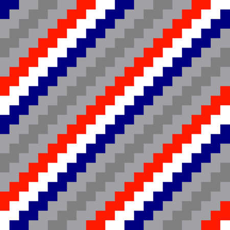 Diagonal seamless gray, red, blue and white striped background