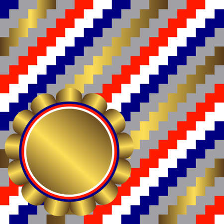 Diagonal seamless striped background with golden banner  Vector