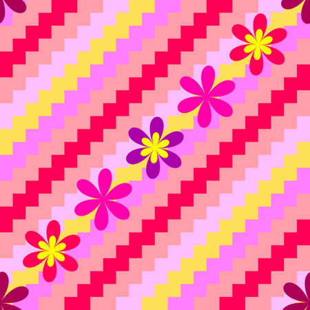 Diagonal seamless floral striped background Vector