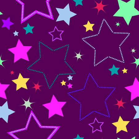 Violet seamless background with stars Vector