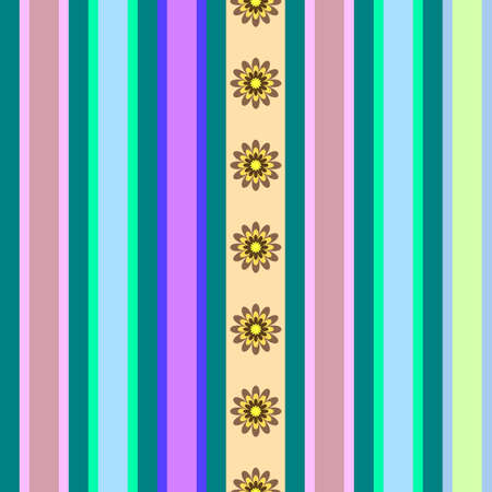 Seamless striped pattern with flowers Vector