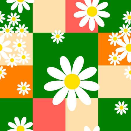 pink cell: Floral con fondo verde, naranja y rosa de c�lulas Vectores