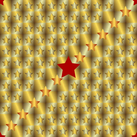 Gold and silver seamless background with stars Vector