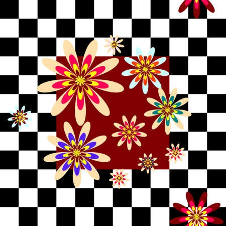 Floral background with  white and  black cell Stock Vector - 4767987