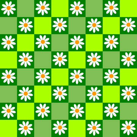 Floral seamless background with green cell and flowers Vector
