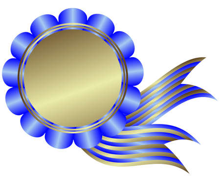 silvery: Silvery medal with blue ribbon on white background Illustration
