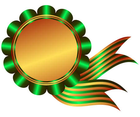 Bronze medal with green ribbon on white background Vector