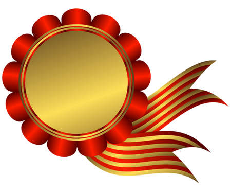 Gold medal with red ribbon on white background Illustration