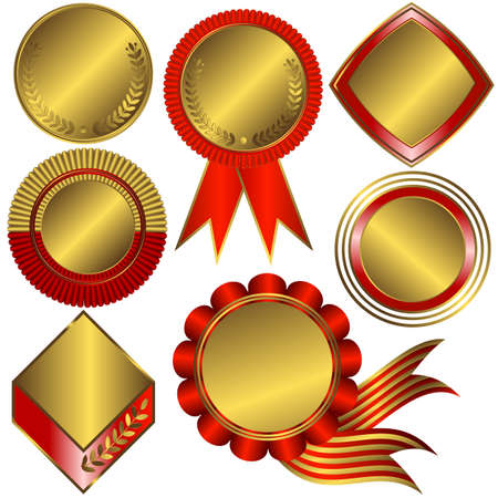 Collection of gold medals and counters (vector)