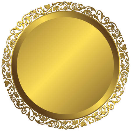 Golden plate with vintage ornament on white background  Vector